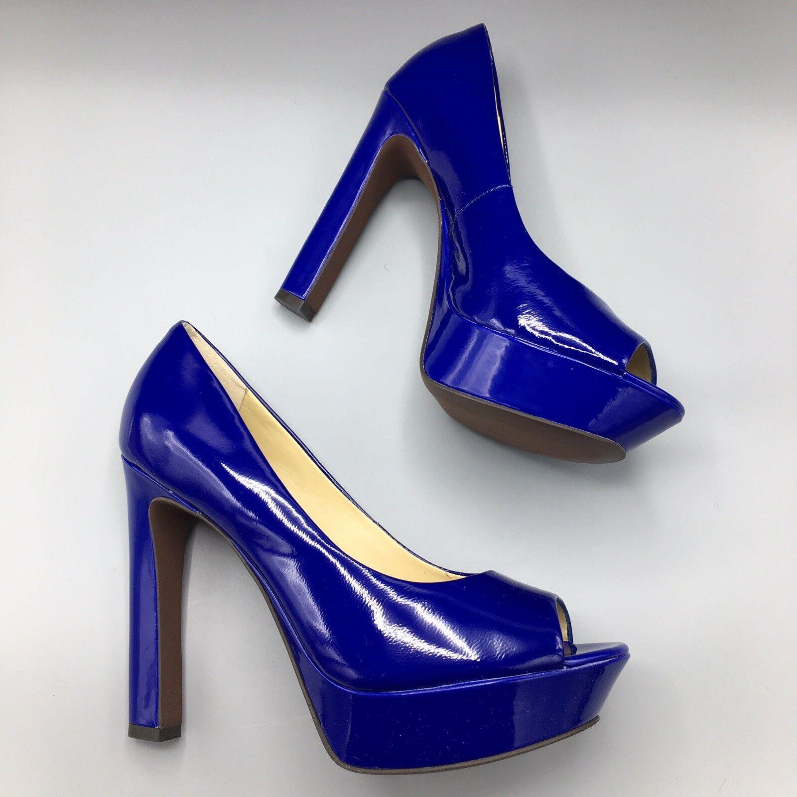 NIB LUXURY REBEL 8.5 'Carlita' Electric blu Patent Leather Platform Open Toe
