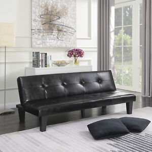 Black Leather Faux Fold Down Futon Lounge Convertible Sofa Bed Couch w/ 2-Pillow
