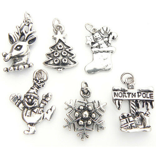Silver Plated New jewellery Craft UK Seller Set Of 6 Christmas Charms