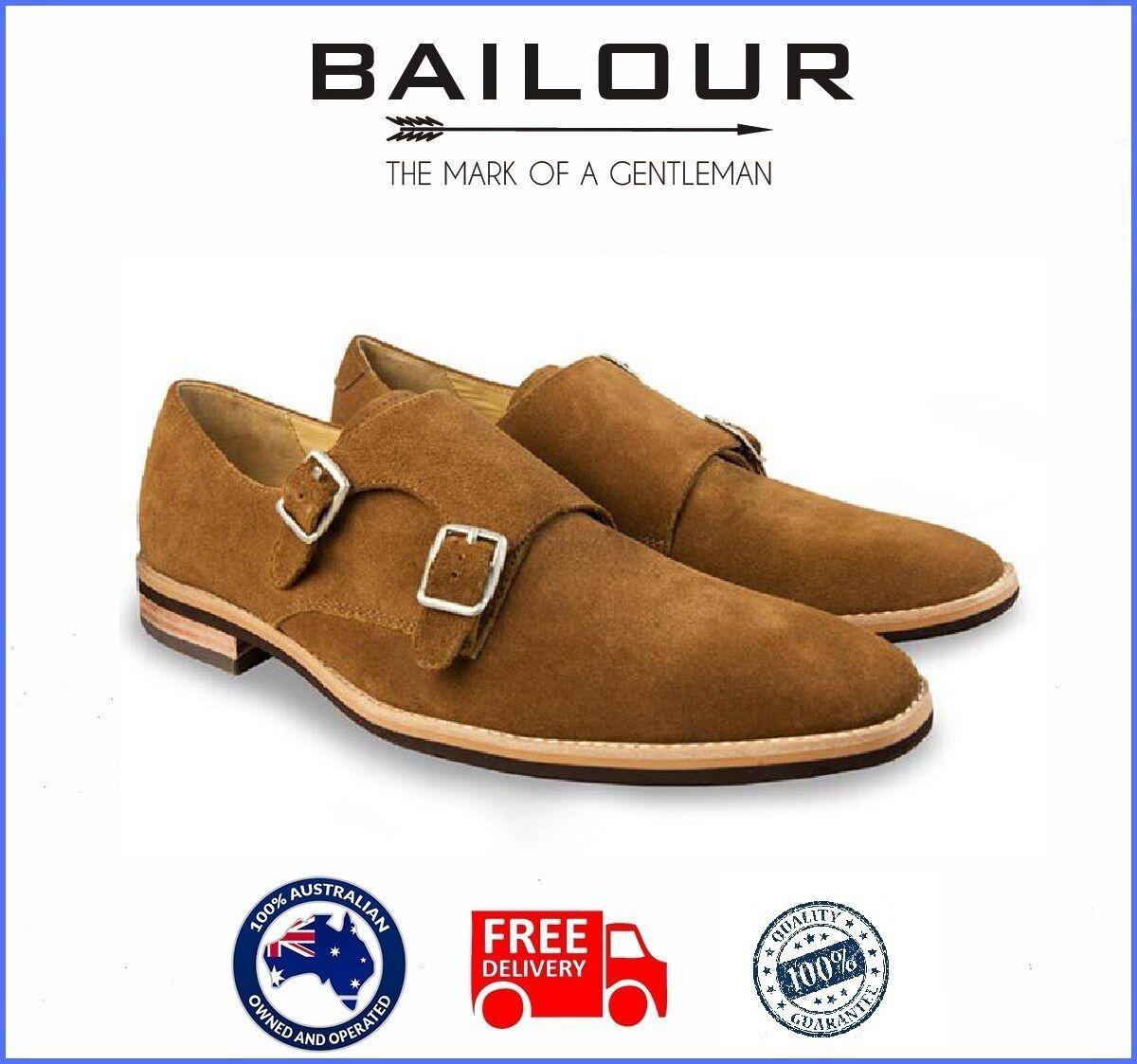 BAILOUR Mens Double Monk Brown shoes