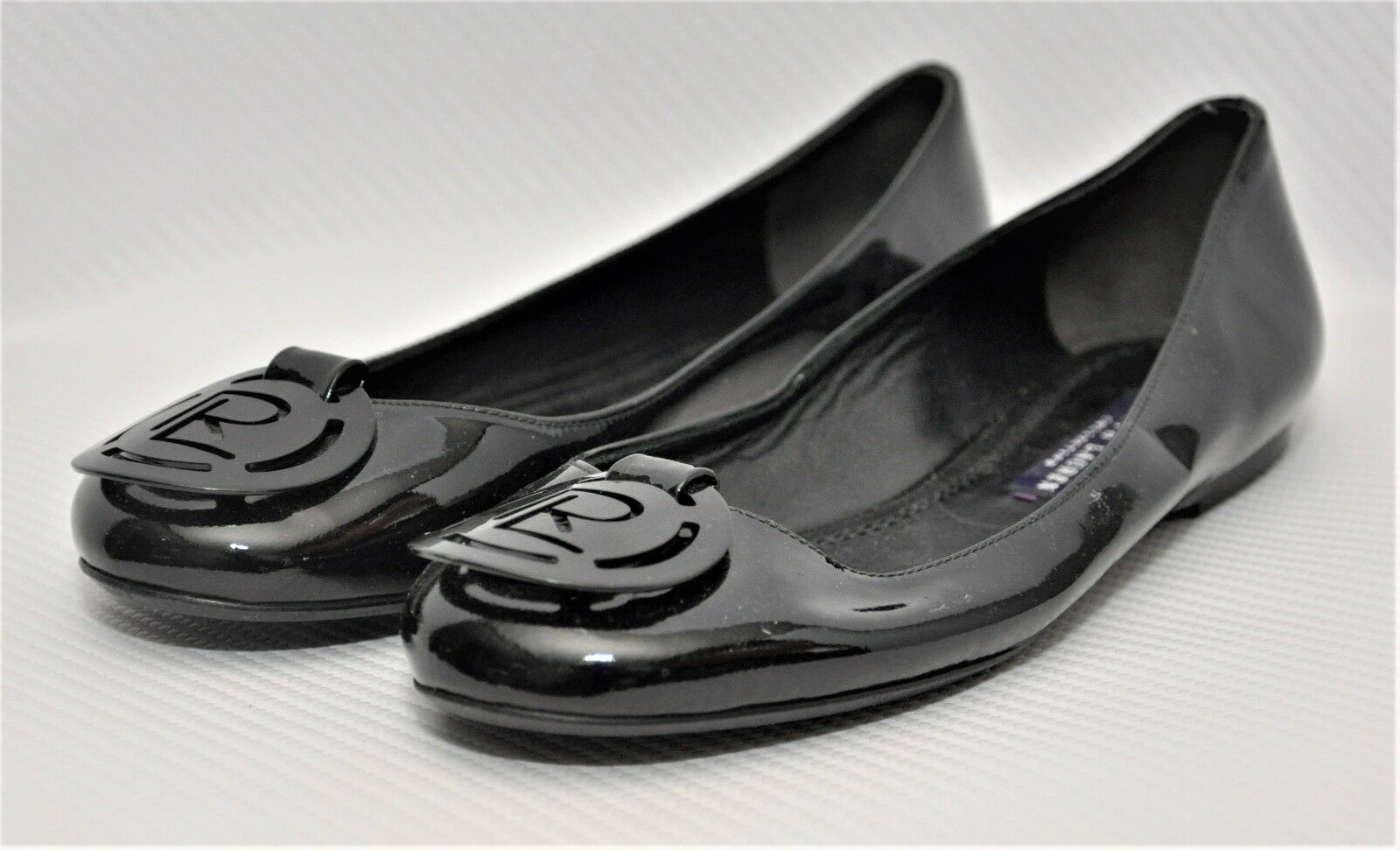 Ralph Lauren Collection Patent Leather Logo Ballet Flat Black Black Black 36 6  650 New 12335c