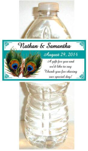 100 TEAL PEACOCK WEDDING WATER BOTTLE LABELS ~ Glossy ~ Waterproof
