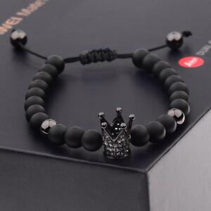 Charm-Men-Cubic-Zircon-24kt-Black-Plated-Crown-Bracelet-Bead-Macrame-Bracelets