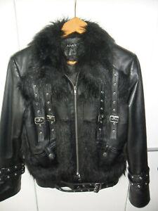 Details zu Lederjacke, schwarz, Größe 38