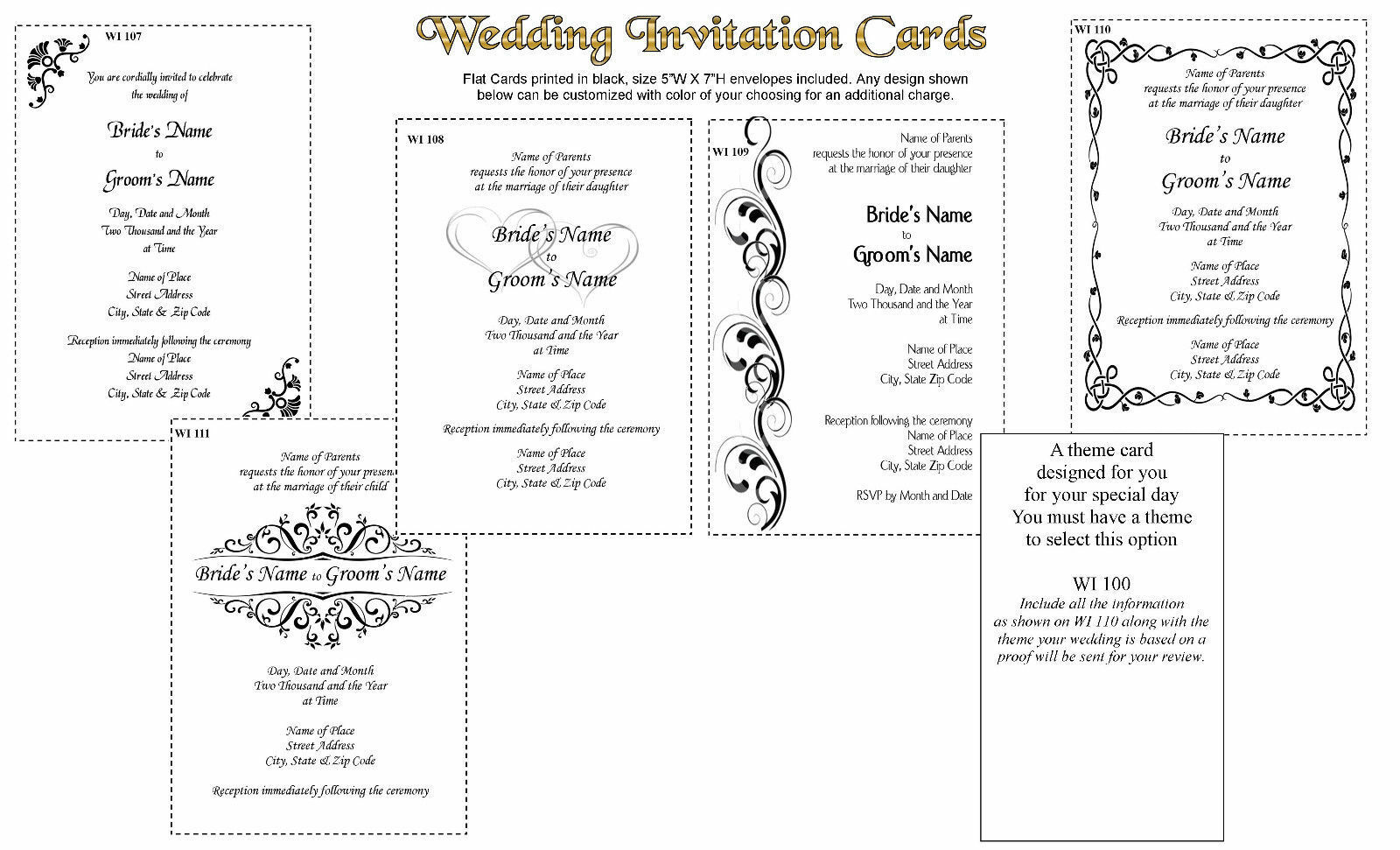 De mariage 100 Cartes d'invitation imprimé en noir avec des enveloppes de nombreuses options