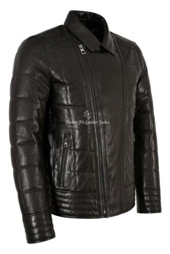 Mens Black Biker Fashion Heavy Quilty Panels Retro Motor-Cycle Jacket KATANA A43