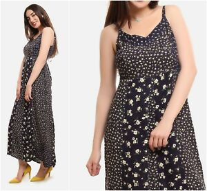 NEW-BHS-NAVY-DITSY-FLORAL-MAXI-STRAPY-VISCOSE-PANEL-SUMMER-SUN-DRESS-RRP-30-8-20