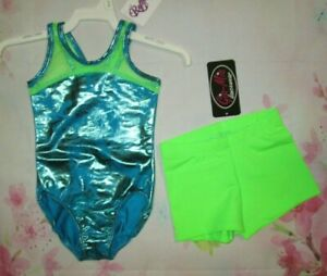 NEW-Size-2-3-4-Child-Lime-Mesh-Leotard-Shorts-Set-Gymnastics-Dance-Lot-XS-XXS