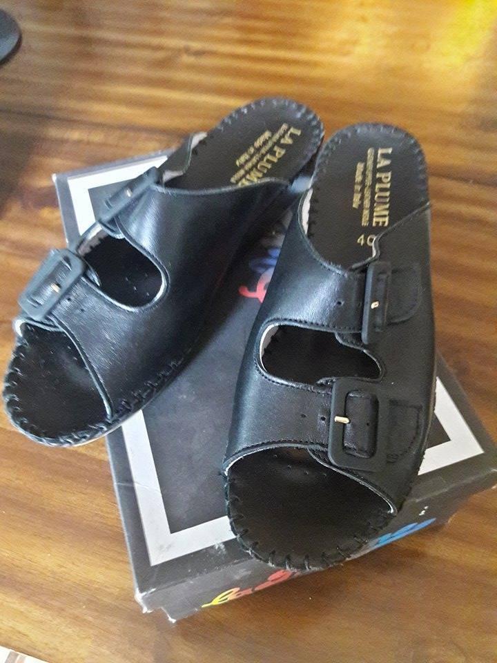 Nuevo En Caja La Plume Jen Negro Cuero Para Para Para mujeres Sandalias Zapatos  ventas en linea