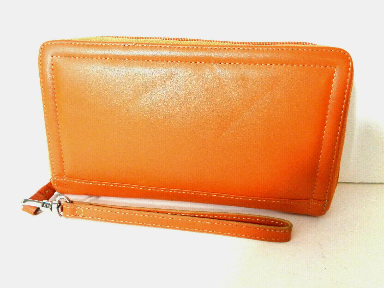 LEVENGER Orange Leather Zip Around Clutch Wallet Wristlet
