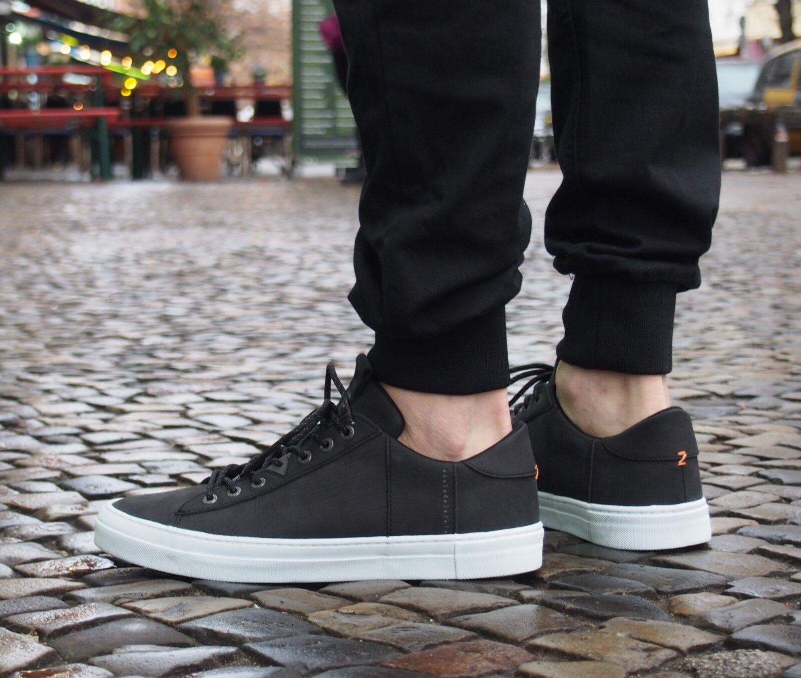 HUB Footwear Schuh Hook Scratched schwarz Weiß Turnschuhe Herrenschuh Echtleder NEU
