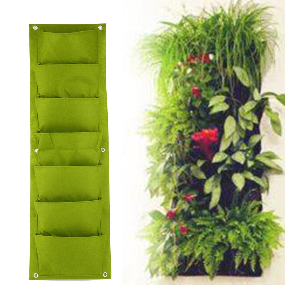 Eg _ Gn- 7 Tasche Wandbehang Garten Pflanzengefäß Beutel Innen Außen Vertikal