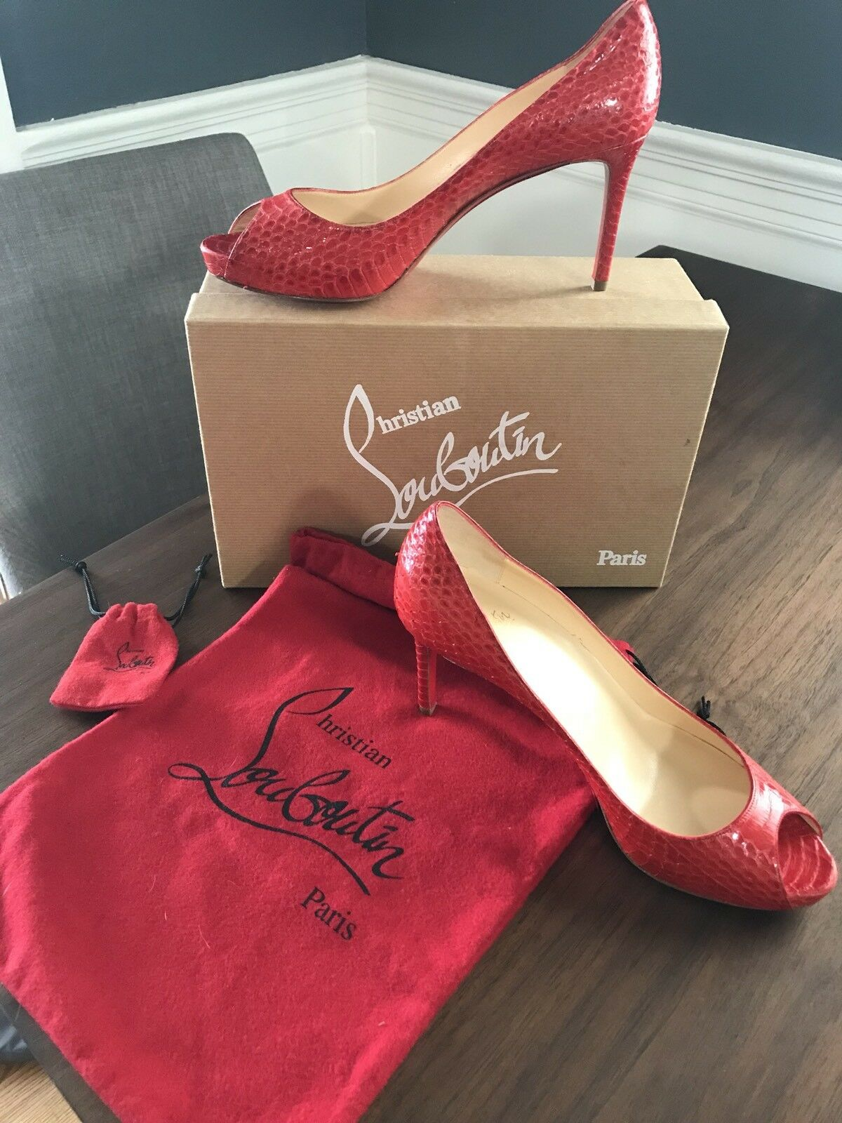 Christian Louboutin Water Snake Snake Snake red Red Peep Toe Pumps Heels shoes 39 2be216