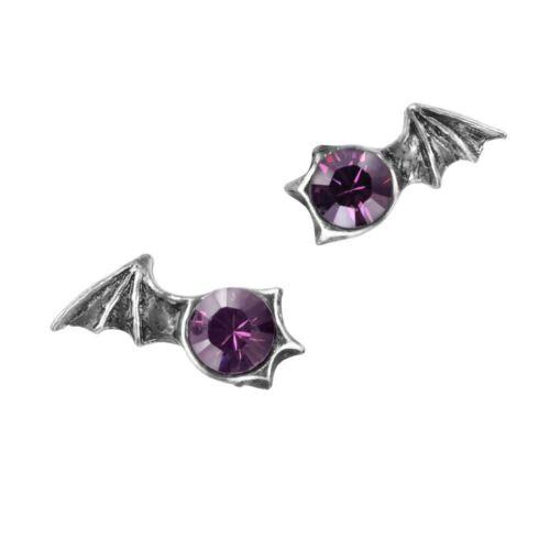 Alchemy Gothic Matins Bat Wings Purple Swarovski Crystals Pewter Ear Studs