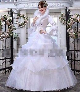 Womens Girls White Winter Fur Wedding Dresses Long Sleeves Korean