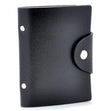 Black PU Leather Pocket Business ID Credit Card Holder Case Wallet for 24 Cards
