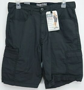 New-Signature-Levi-Mens-Charcoal-Cargo-Tech-Phone-Utility-Straight-Leg-Shorts-36