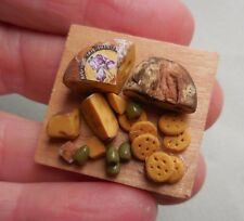 DOLLHOUSE MINIATURE ~ FANCY CHEESE, BREAD & CRACKER BOARD ~ HANDMADE