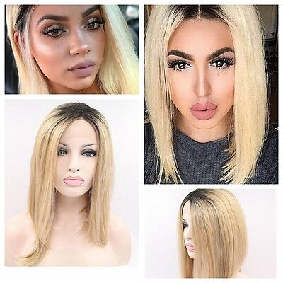 Ombre Blonde Lace Front Wig Long Straight Synthetic Wigs For Women Heat Friend.