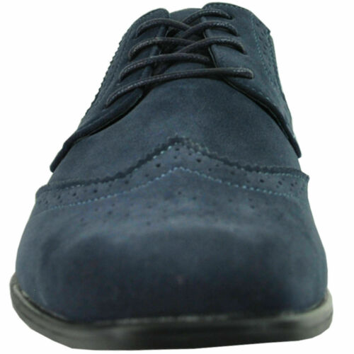 Really Nice New Men/'s Blue Wing Tips Faux Suede All Sizes TUXXMAN QUALITY