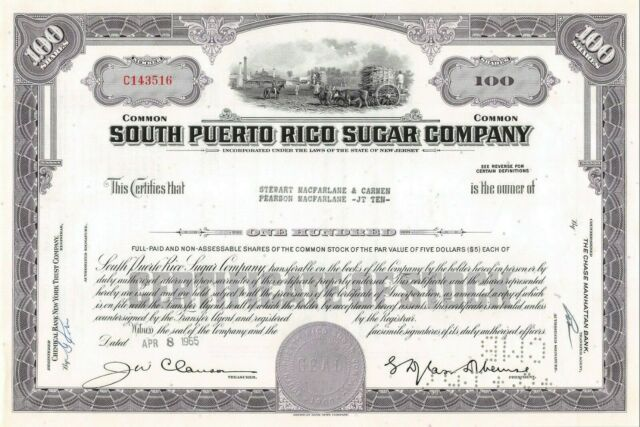 South Puerto Rico Sugar Company 100 Share Common Stock Certificate