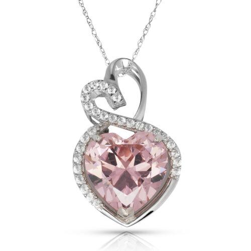 4.2 ct Halo Rose Saphir Double Coeur Gemme Pendentif /& Collier 14K or Blanc