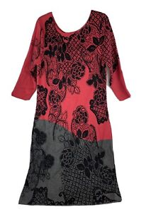 Nic + Zoe Women Large Red Black and Gray Floral 3/4 Sleeve Sweater Dress