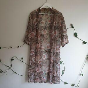 Vintage-60s-70s-Floral-Semi-Sheer-Light-Chiffon-Coat-S-M-Brown-Ruffle-Trim-Boho