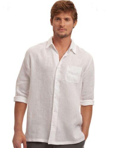 White RETAILS$135.00 Island Company Men/'s Classic Linen Shirt Color