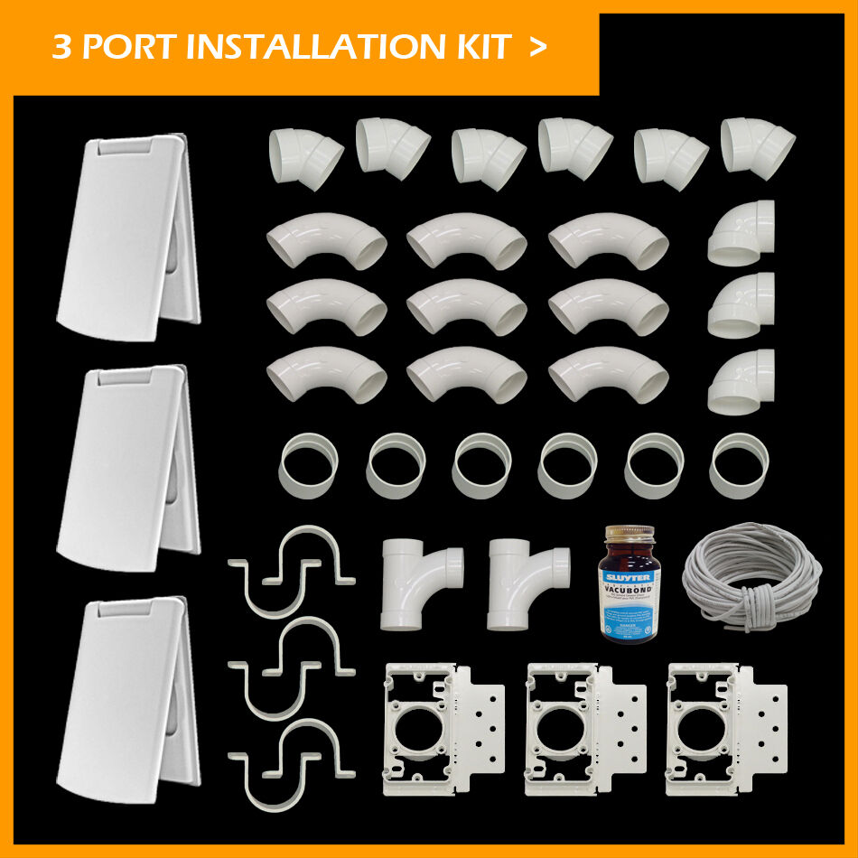 Central Vacuum 3 Inlet Inssizetion Kit White Deluxe Full Door- NEW   KIT