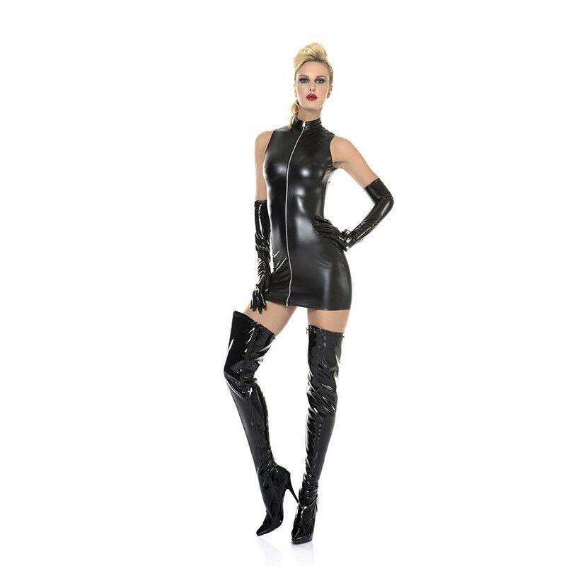 Robe courte sexy fetish blacke modèle Lindsay de la marque Patrice Catanzaro