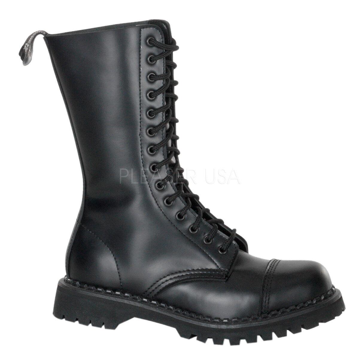 Demonia Pleaser Rocky-14 Stiefel Gothic,Bike,Combat, Echtes Leder Größe 42,5 NEU