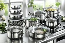 Induction Hob Saucepan Set Non Stick Stainless Steel Pots Pan Cookware 20 Piece