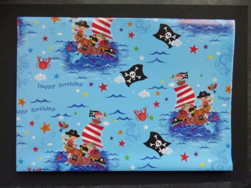 2 Sheets Gift Wrap and 1 Gift Tag PIRATES Happy Birthday Wrapping Paper