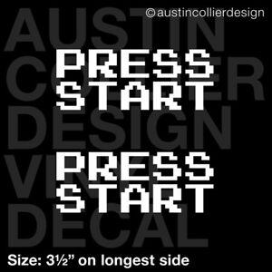 Set-of-2-3-5-034-PRESS-START-vinyl-decal-car-window-laptop-sticker-arcade-gamer