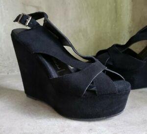 c2b2ebe9d288 Jeffrey Campbell Mariel black suede platform peep toe wedge heels sz ...
