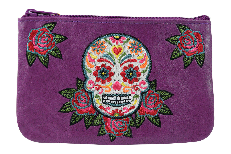 Lavishy Rockabilly Rose & Sugar Skull Embroidered Small Flat Pouch