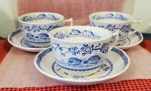 FURNIVALS China - QUAIL Pattern BLUE - (3) Oversized Breakfast CUP & SAUCER SETS