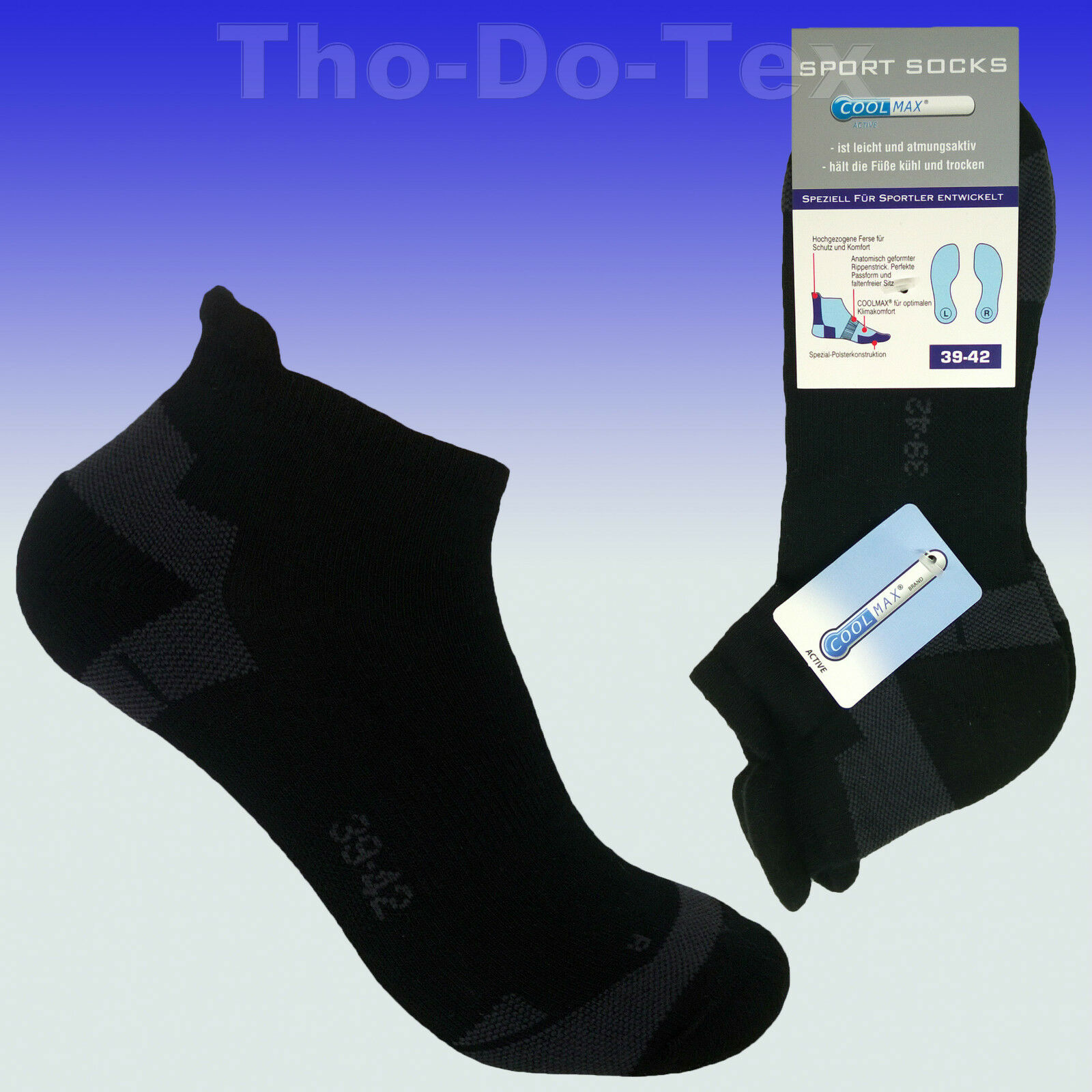 1970d59fd80a88 Details zu COOLMAX ® Sneaker Socken Sportsocken, Funktionssocken, Spitze  gekettelt, schwarz