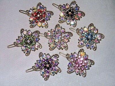 ELEGANT GOLDTONE HAIR CLIP AB CRYSTALS SELECT COLOR SHIPS FAST FROM USA