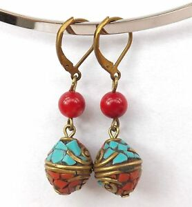 1-25-034-Nepal-brass-Turquoise-red-Coral-beads-handmade-earrings