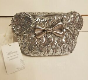 DISNEY MINNIE MOUSE SILVER SEQUIN BOW LOUNGEFLY FANNY PACK BAG PURSE RARE HTF