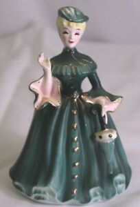 "Vintage Napco Victorian Lady Planter Woman Vase 6.5"" Green Dress Japan A18900"
