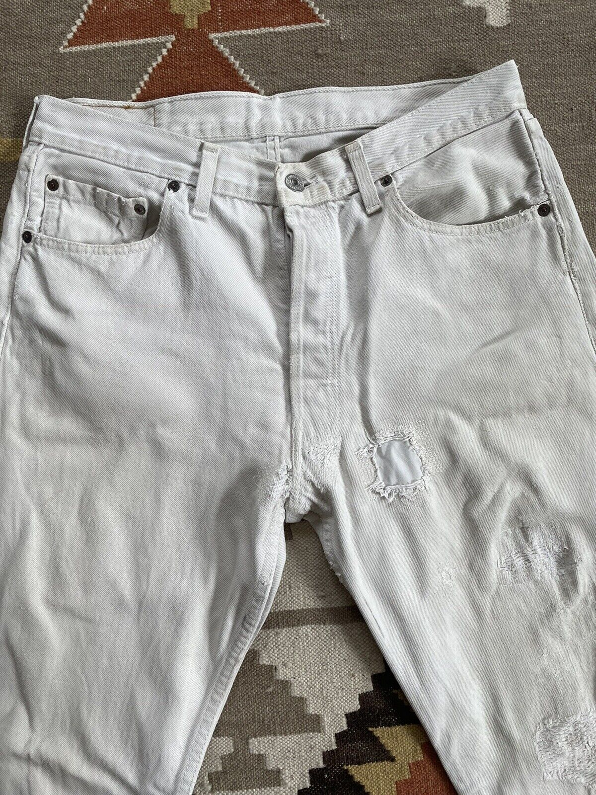 Vintage Levi's 501 Custom Distressed White Denim … - image 2