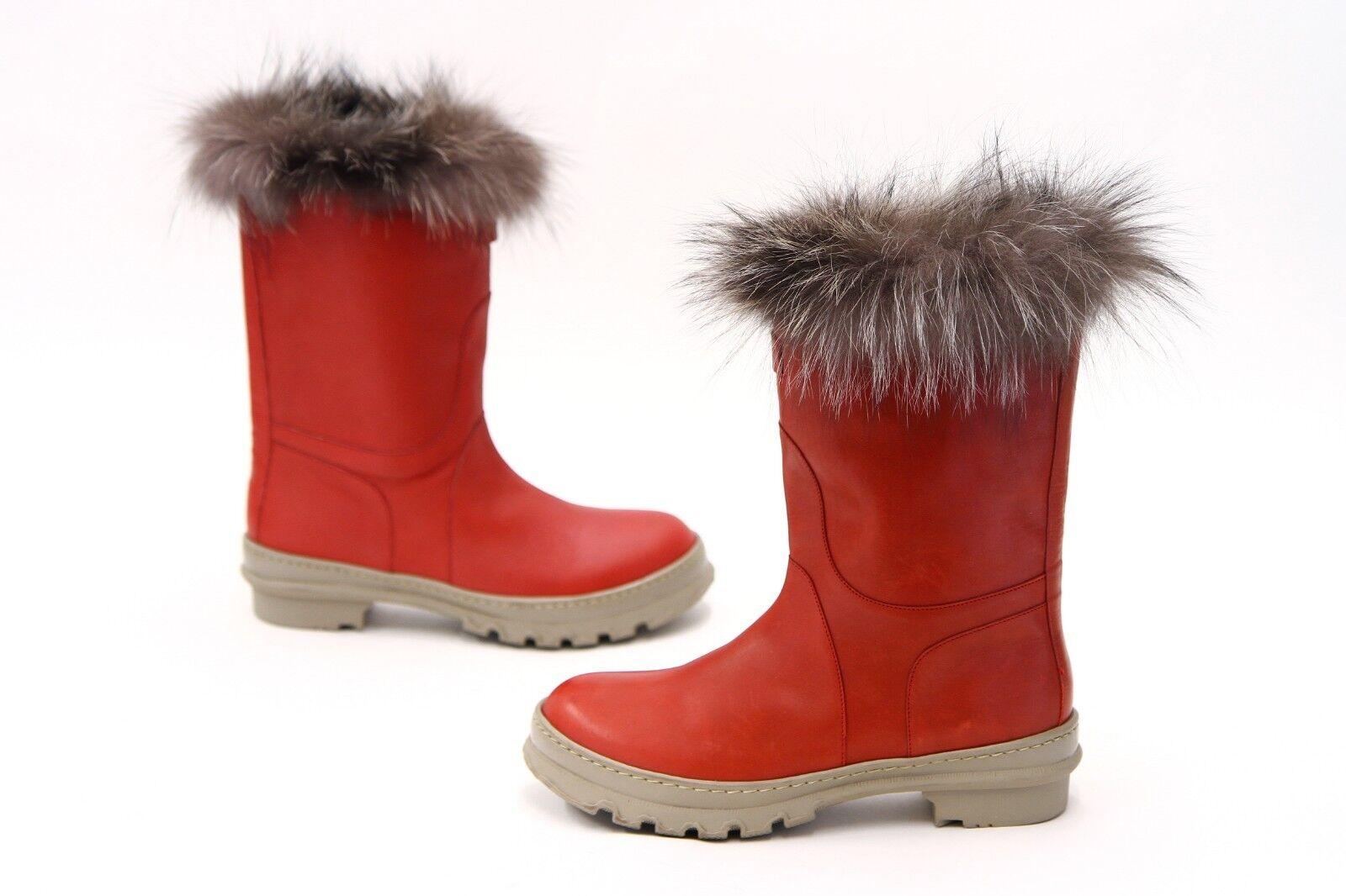 NWOB  2495 Brunello Cucinelli 100% Fur Fur Fur Trimmed Leather Snow Boots 40 10US  A181 f3b21d