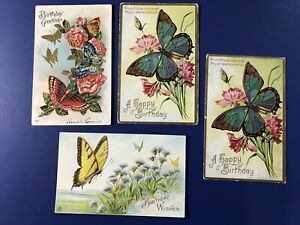 4-BIRTHDAY-Antique-Postcards-Beautiful-Butterflies-Collector-Items-Nice-1900s