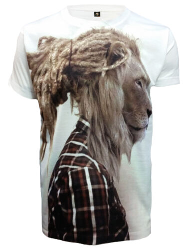 Raga Lion Sublimation Full Front Print T SHIRT//Rasta//Dope//Bob Marley//Reggae//Top