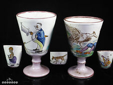 Italian / French Maiolica / Faience Figural Painted Goblets c.1880
