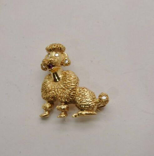 Vintage Kitsch!  Cute 14k Standard Poodle Pin w/ D