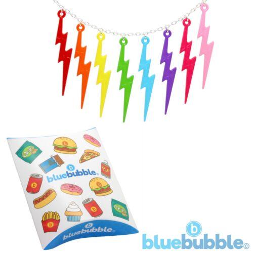 Bluebubble LUCKY LIGHTNING Flash Necklace Funky Kitsch 80s 90s Punk Rock Bolt UK